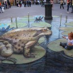 3D Chalk Drawing par Julian Beever - sa fille et une grenouille