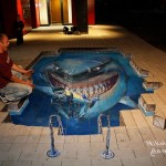 Le requin du Monde de Nemo en 3D Chalk Sidewalk Drawing